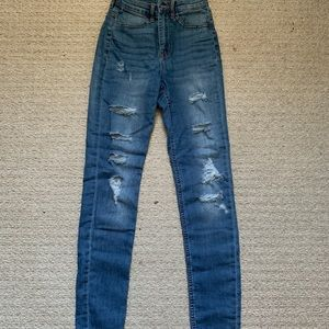 H&M Medium Wash Blue Ripped Jeans